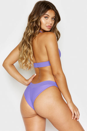 Frankies Bikinis Wyatt Amethyst Ribbed Cheeky Bottom