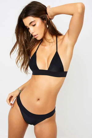Frankies Bikinis Wyatt Black Ribbed Cheeky Bottom
