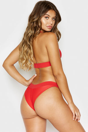 Frankies Bikinis Wyatt Red Ribbed Cheeky Bottom