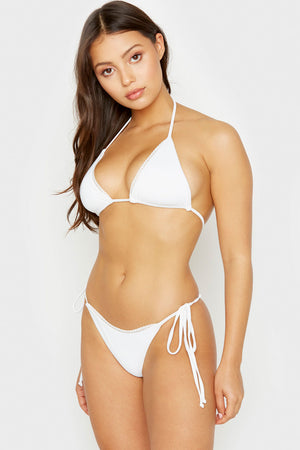 Frankies Bikinis White XO Mini Ribbed String Skimpy Bottom