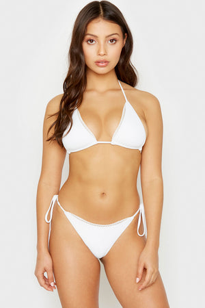 Frankies Bikinis White XO Mini Ribbed String Top