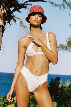 Frankie Bikinis Cali White High Waist Cheeky Bottom