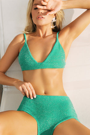 green sparkle bikini apres swim