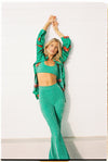 green sparkle top and flare pants apres swim