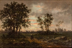 19th c., oil-on-board, French, Barbizon-school painting