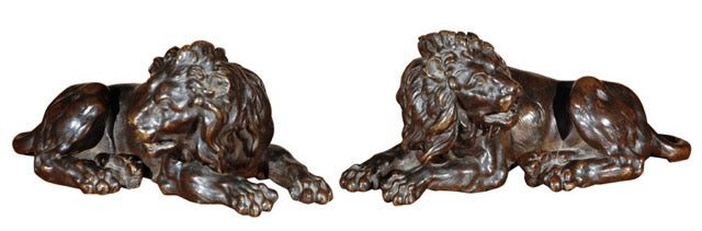 1840, left and right, hand-cast, recumbent bronze lions