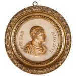 Carrara marble relief medallion of Augustus Caesar