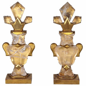 Stunning pair of French, baguette style, rock crystal, urn-form garnitures