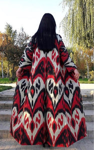 Michelle Opera Coat -Red/Black and White