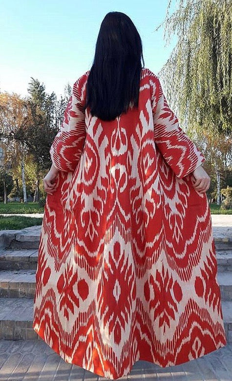 Michelle Opera Coat - Red and White