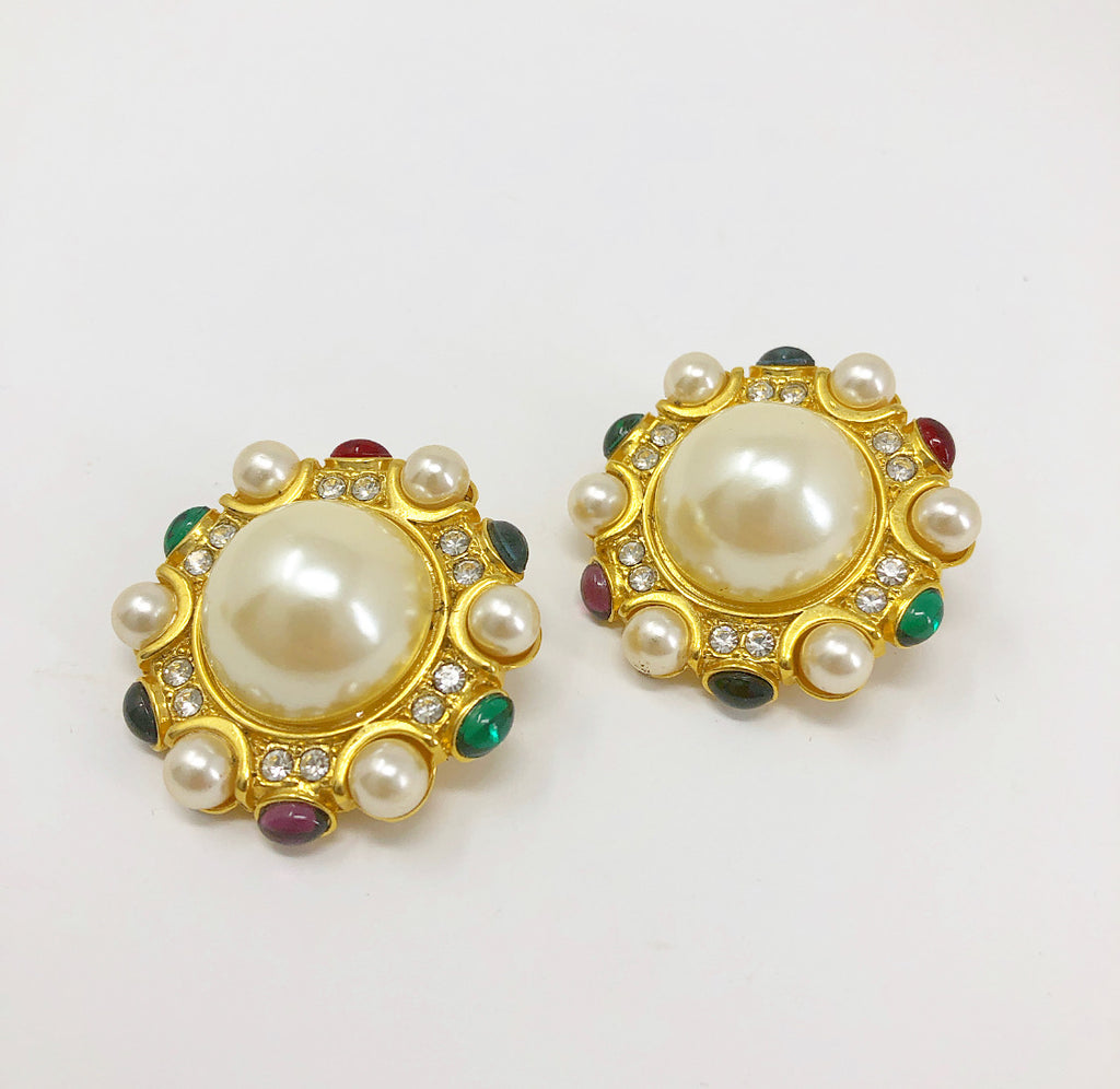 Vintage large round pearl clip on earrings