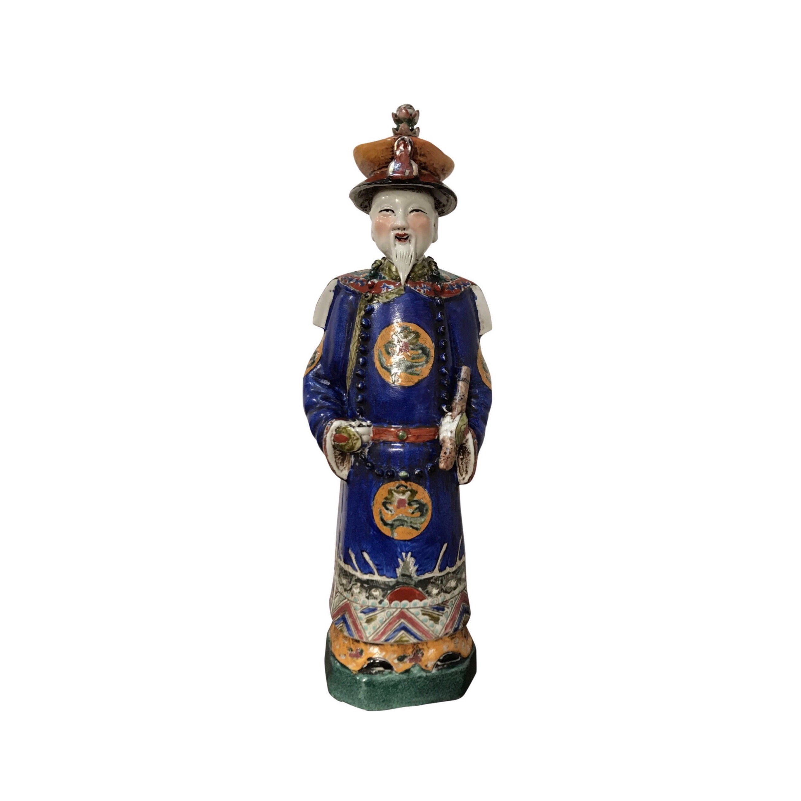 1900s Antique Chinese Multicolor Porcelain King Figure