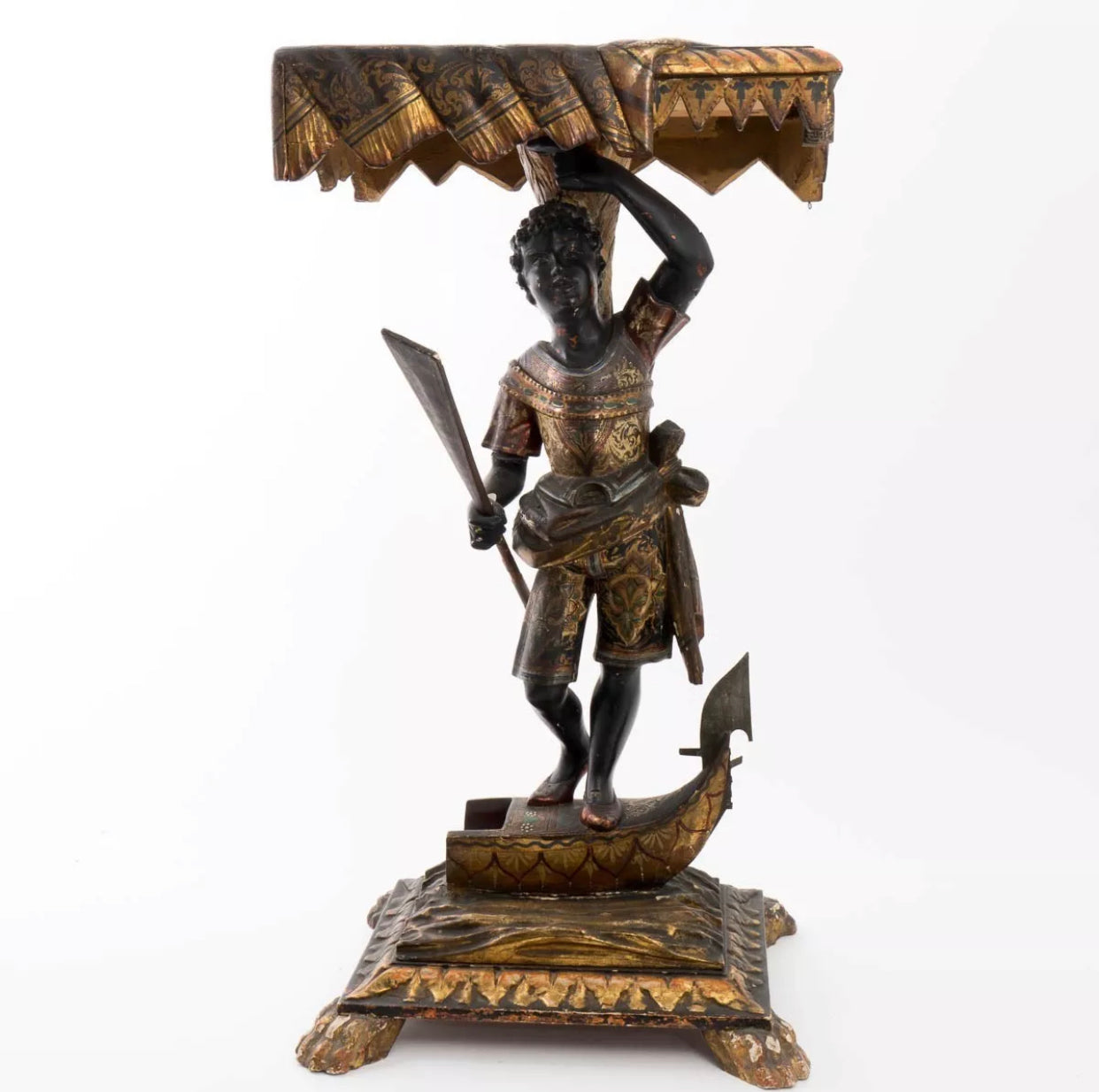 Venetian polychrome and parcel gilt blackamoor pedestal