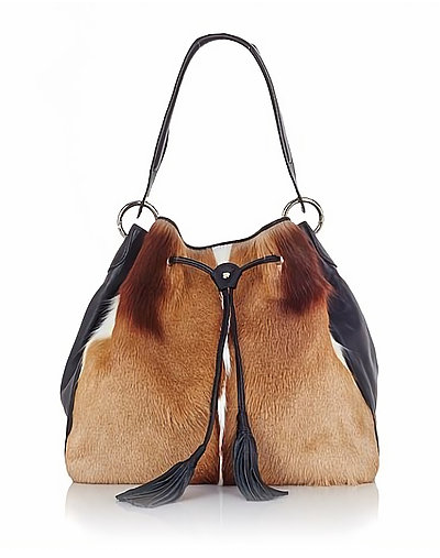 Leather and Springbok Drawstring Bag