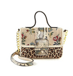 Hand Needlepoint with Snakeskin Embossed Satchel