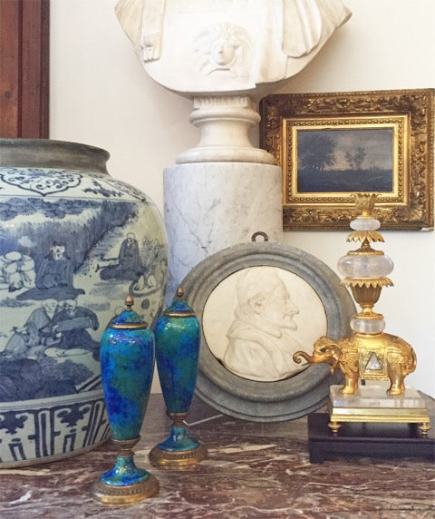 Pair of petite, French, turquoise, glazed urns with gilt bronze mounts
