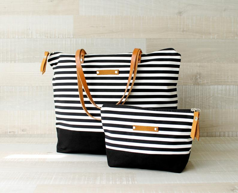 Zippered Striped Tote Bag,