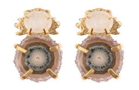 KLECK WITH FACETED STONE AND STALACTITE DRUSY SLICE