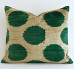 Luxury Dark Green Dot Velvet Throw Pillow