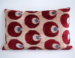 Red Dot Pattern Velvet Throw Pillow