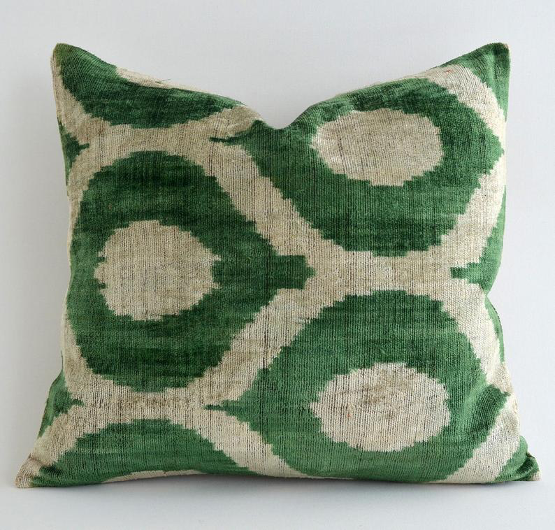 Luxury Dark Green Velvet Throw Pillows