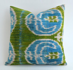 Luxury Dark Green Velvet Throw Pillow - blue/green