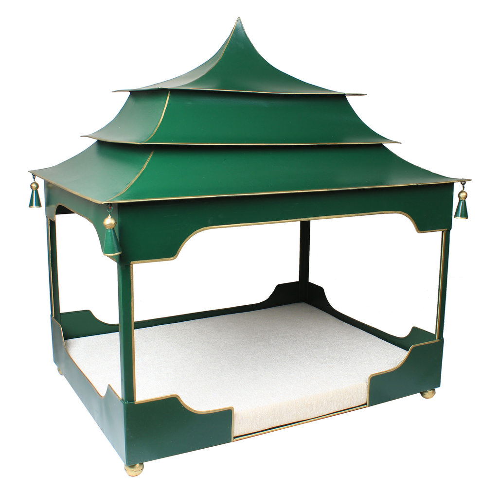 Pagoda Pet Bed Moss Green and Gold