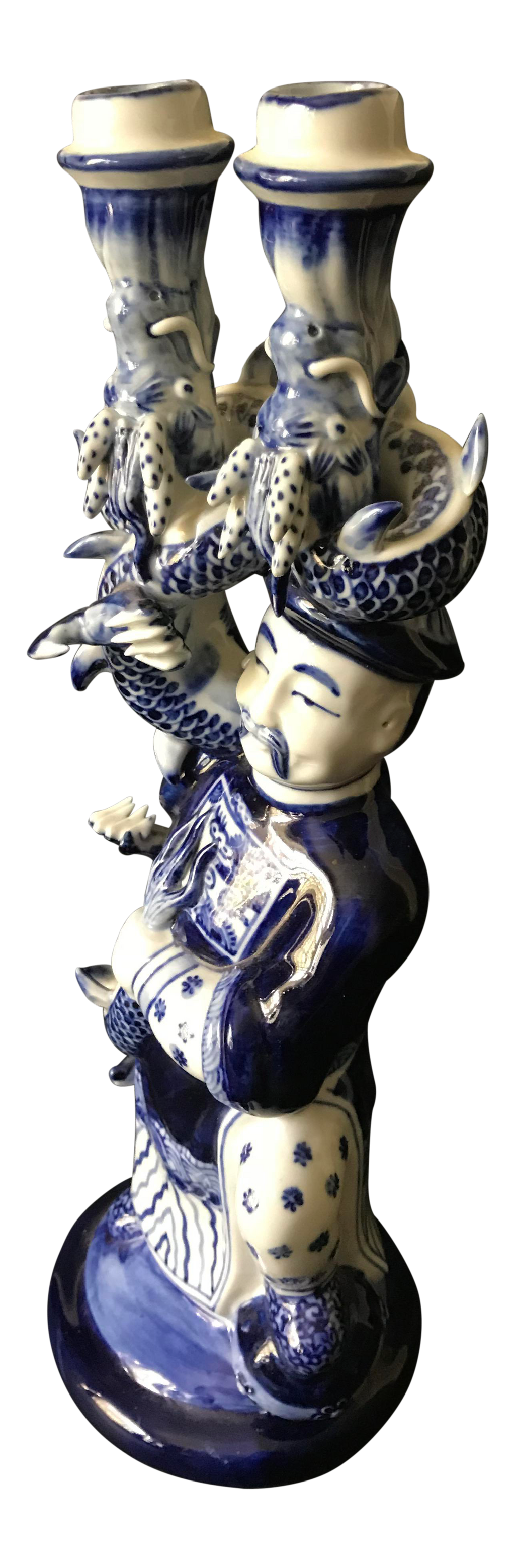 Blue & White Porcelain Asian Candleholder