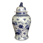 Chinese Hand Painted Blue & White Ginger Jar