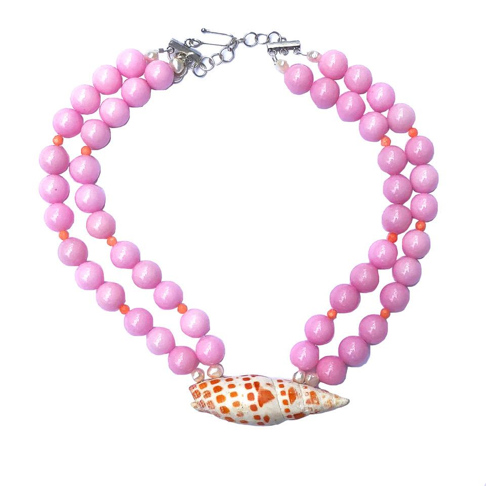 """Lyford"" necklace in bubble gum pink"