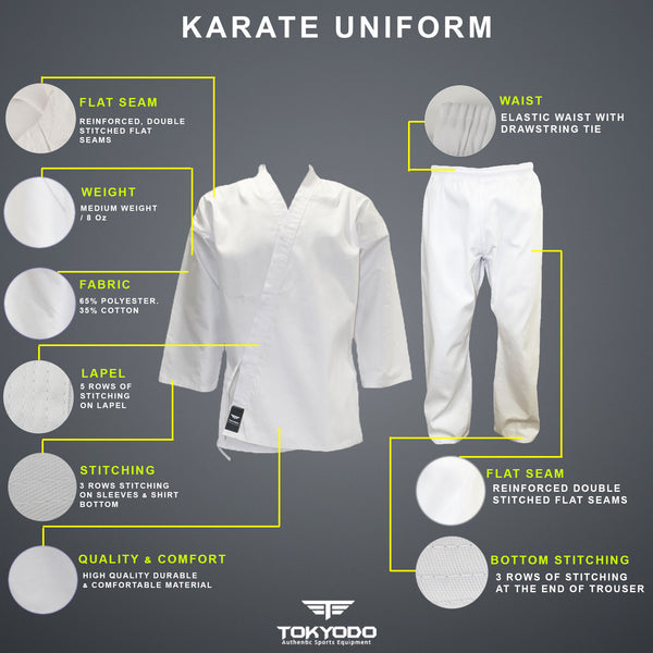 Karate Gi/Uniform Martial Arts Jacket, Pants & White Belt - 8 Oz, Medium Weight