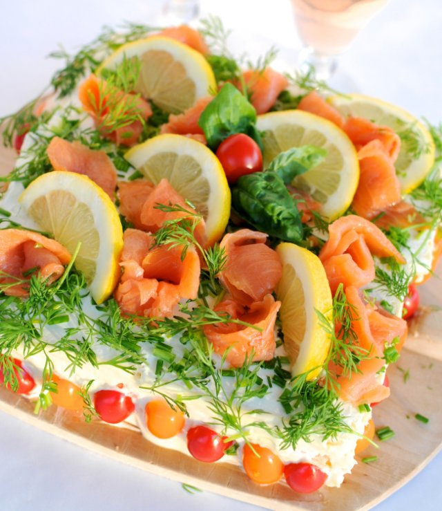 SWEDISH SANDWICH CAKE WITH SALMON AND PRAWNS