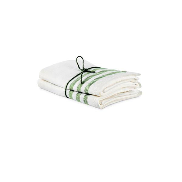 Towel 2-Pack Diagonal - Offwhite/Leaf Green