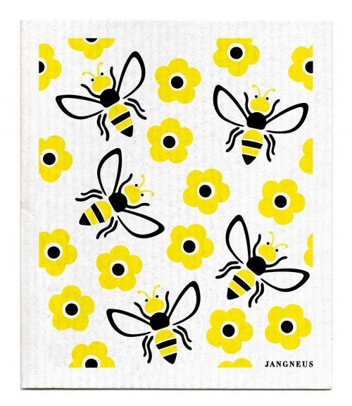 BLACK YELLOW BEES DISHCLOTH