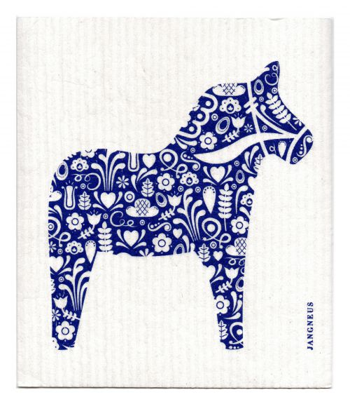 BLUE DALA HORSE DISHCLOTH