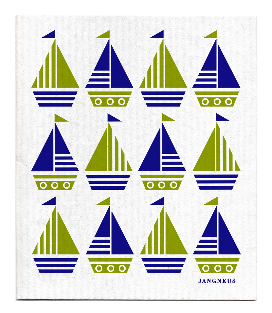 BLUE GREEN BOATS DISHCLOTH