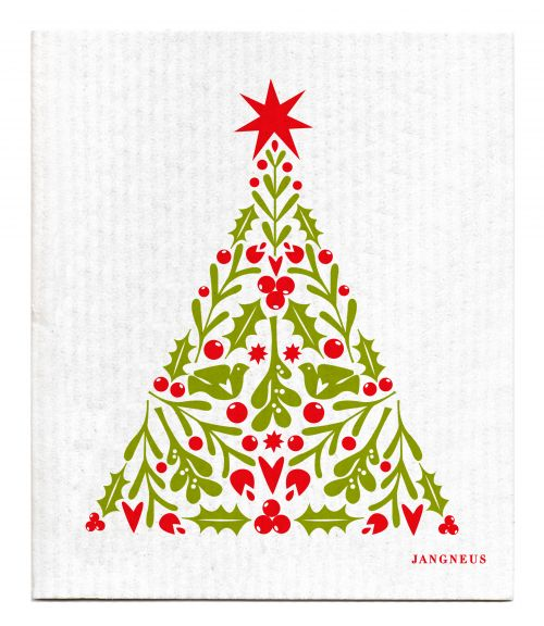 Red Christmas Tree Dishcloth