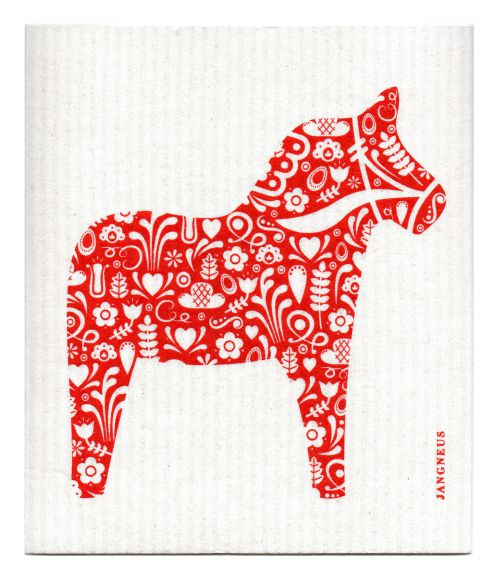 RED DALA HORSE DISHCLOTH