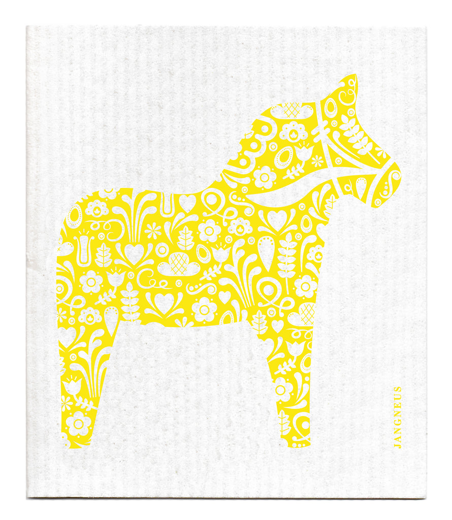 YELLOW DALA HORSE DISHCLOTH