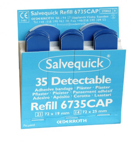 Salvequick Catering Plasters Refill, Blue, Metal Detectable - 35's