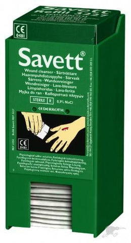 Savett Wound Cleanser 40 Wipes with Wall Mounted Dispenser