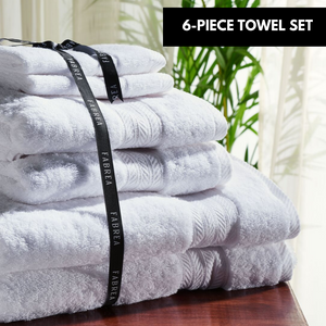 6-Piece Set of White Towels 650 GSM
