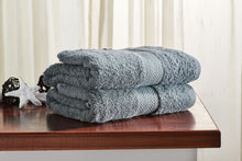 Load image into Gallery viewer, Set of 2 Grey Guest/ Hand Towels 650 GSM (available in 4 shades) 100x50cm