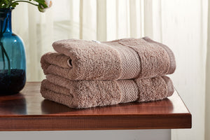 Set of 2 Brown Guest/ Hand Towels 650 GSM (available in 4 shades) 100x50cm