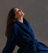 Load image into Gallery viewer, Luxury Navy Blue Bathrobe 600GSM