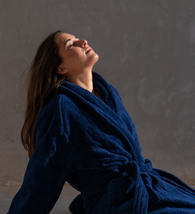 Luxury Navy Blue Bathrobe 600GSM