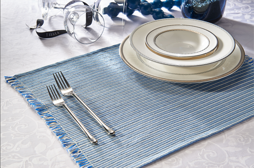 Pair of Blue Ribbed Placemats
