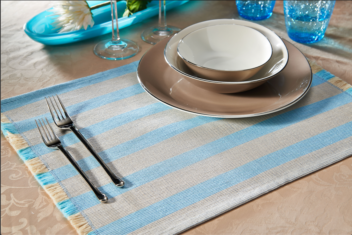 Pair of Beige & Baby Blue Striped Placemats