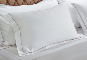 White Pillowcases with Marine Line 500TC