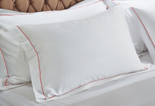 Load image into Gallery viewer, White Pillowcases with Marine Line 500TC
